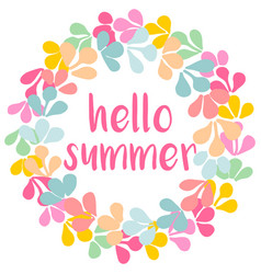 Hello summer watercolor wreath card isolated vector