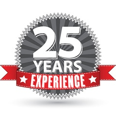 25 years experience retro label with red ribbon vector