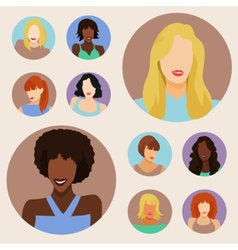 Set of female portraits vector
