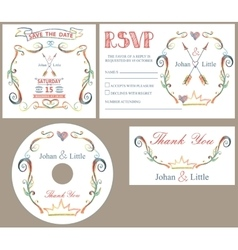Vintage wedding design template setcolored vector