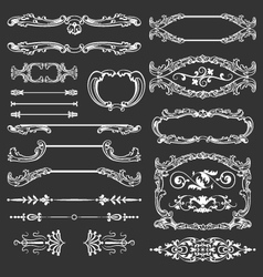 Vintage floral decorative design elements vector