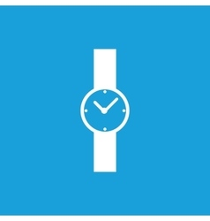 Hand watch icon white vector