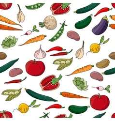 Seamless pattern with different fresh vegetables vector