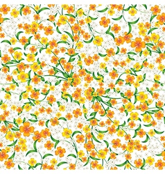 Abstract seamless yellow floral ornament on white vector