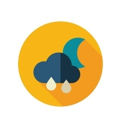 Rain cloud moon flat icon meteorology weather vector