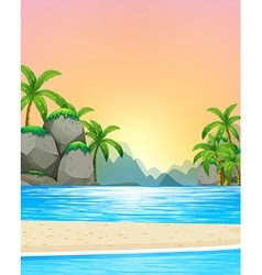 View of the beach at sunset vector