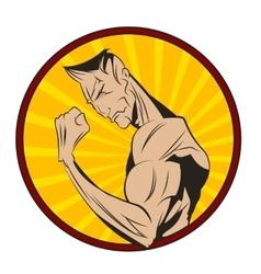 Bodybuilder shows his biceps vector image
