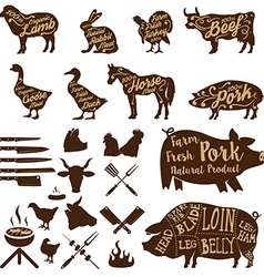 Butcher tools farm animals fresh pork vector