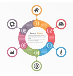 Circle diagram six elements vector