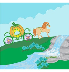 Pumpkin carriage vector