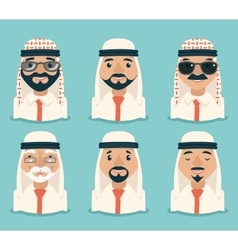 Arab Avatars Businessman Young Adult Old Retro vector image