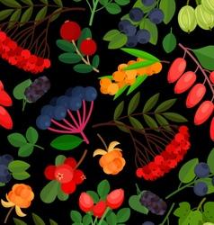 Berries pattern rowan black vector