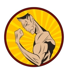 Bodybuilder shows his biceps vector image vector image