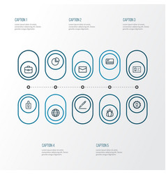 Business outline icons set collection of team vector
