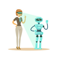 businesswoman controlling humanoid robot with vector image