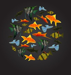 Colorful aquarium fishes isolated polygonal vector