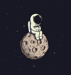 cute baby-astronaut sits on moon vector image