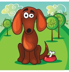 Cute cartoon dog with bone vector image