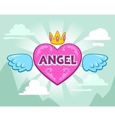 Cute girlish with angel heart vector