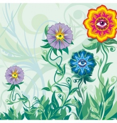 Flowers eyes and grass vector