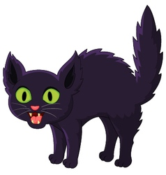 Frightened cartoon black cat vector