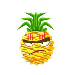furious pineapple face cute cartoon emoji vector image vector image