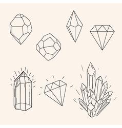 Hand drawn set sketch crystaldiamond and polygonal vector image