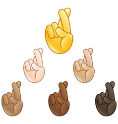 Hand with index and middle fingers crossed emoji vector