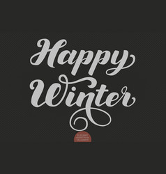 Happy winter text calligraphic lettering vector