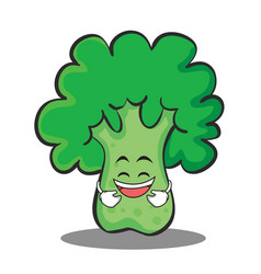 laughing broccoli chracter cartoon style vector image vector image