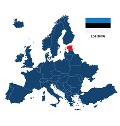 map of europe with highlighted estonia vector image