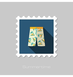 Men Beach Shorts flat stamp Summer Vacation vector image