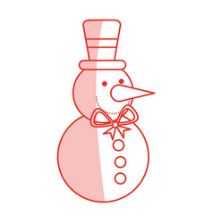 Red shading silhouette of snowman with bow tie and vector
