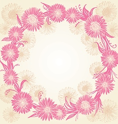 Romantic graphic pink and beige flowers vector