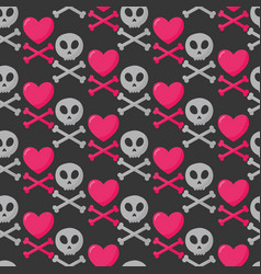 Skull heart and crossbones seamless pattern vector