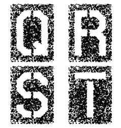 stencil angular spray font letters Q R S T vector image vector image
