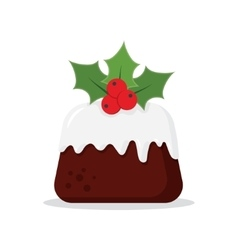Traditional christmas pudding with holly vector