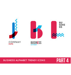 trendy alphabet icon set vector image