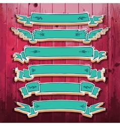 Vintage 3D Ribbons Set vector image