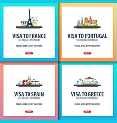 Visa to france portugal spain greece document vector