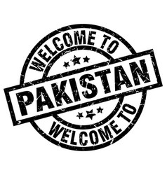 Welcome to pakistan black stamp vector