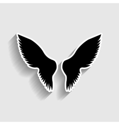 Wings sign sticker style icon vector