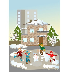 Kids christmas winter games vector