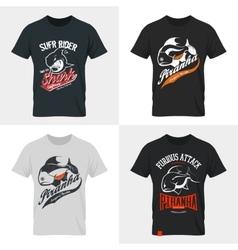 Shabby dangerous fish t-shirt emblem vector
