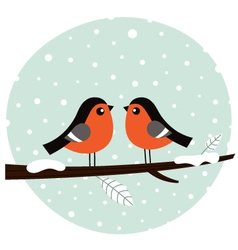 Cute bullfinch couple sitting on the branch vector