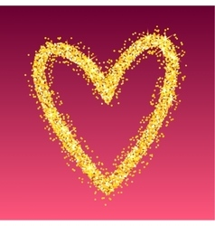 Gold heart on red background vector