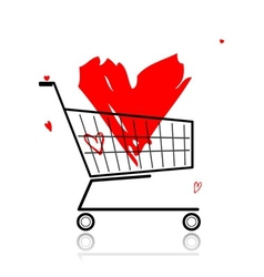 Big red heart in shopping cart for your design vector image
