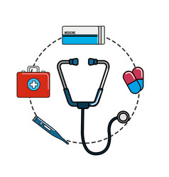 Tethoscope with hospital tools icon vector