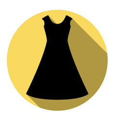 Beautiful long dress sign  flat black icon vector
