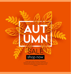 Fall sale background design with colorful paper vector